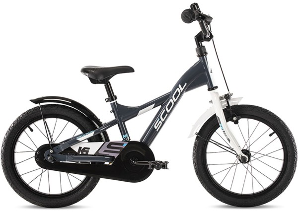 S'COOL | Kindervelo | 16-Zoll | XXlite Steel | Anthrazit-weiss